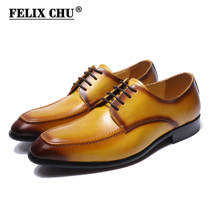 Big Sale Genuine Real Leather Mens Derby Shoes Yellow Plain Toe Rubber Sole Casual Business Footwear Man Dress Shoes Lace Up-in Formal Shoes from Shoes    1
