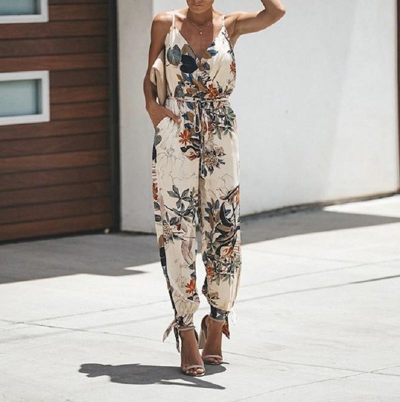 Women Floral Print Jumpsuits 2020 New Casual V-Neck Spaghetti Strap Bodysuit Sexy Bohemia Drawstring Female Rompers Plus Size