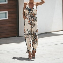 Women Floral Print Jumpsuits 2020 New Casual V-Neck Spaghetti Strap Bodysuit Sex