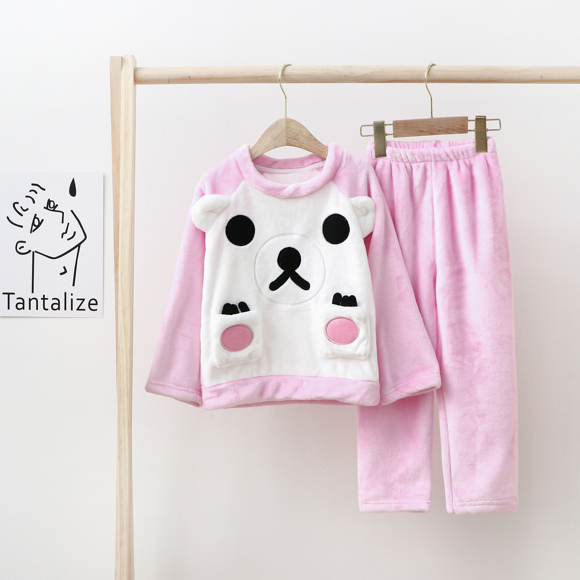 Flannel cartoon Kids Home clothes Two-piece winter Boys and Girls pajamas set High Quality sleepwear Children clothing hot sale
