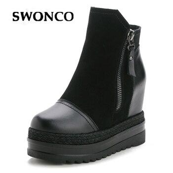 SWONCO Wedge Shoes Women Platform Sneakers Black  Sneaker Genuine Leather 2019 Women Casual Shoes Ladies Sneakers Chunky Heels