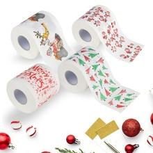 Бумага для ванной с рождественским принтом, домашняя Туалетная рулонная бумага Санта Клауса, рождественские принадлежности, Рождественская декоративная ткань, 170 листьев, туалетная бумага