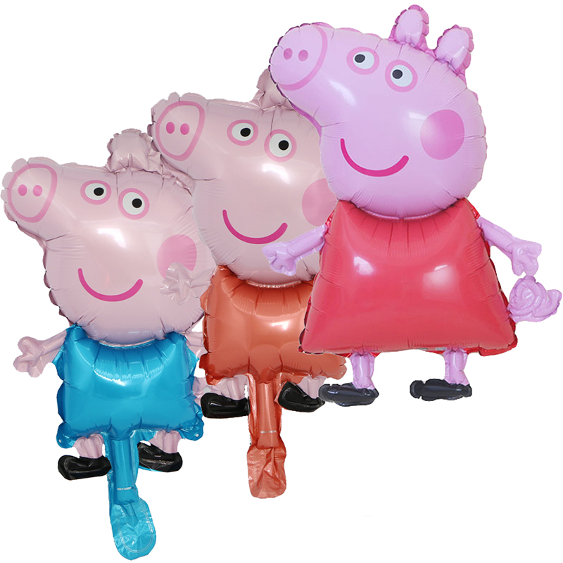 Cartoon Figure Peppa Pig Aluminum Foil Balloon George Figures Birthday Party Decoration Layout Accessories