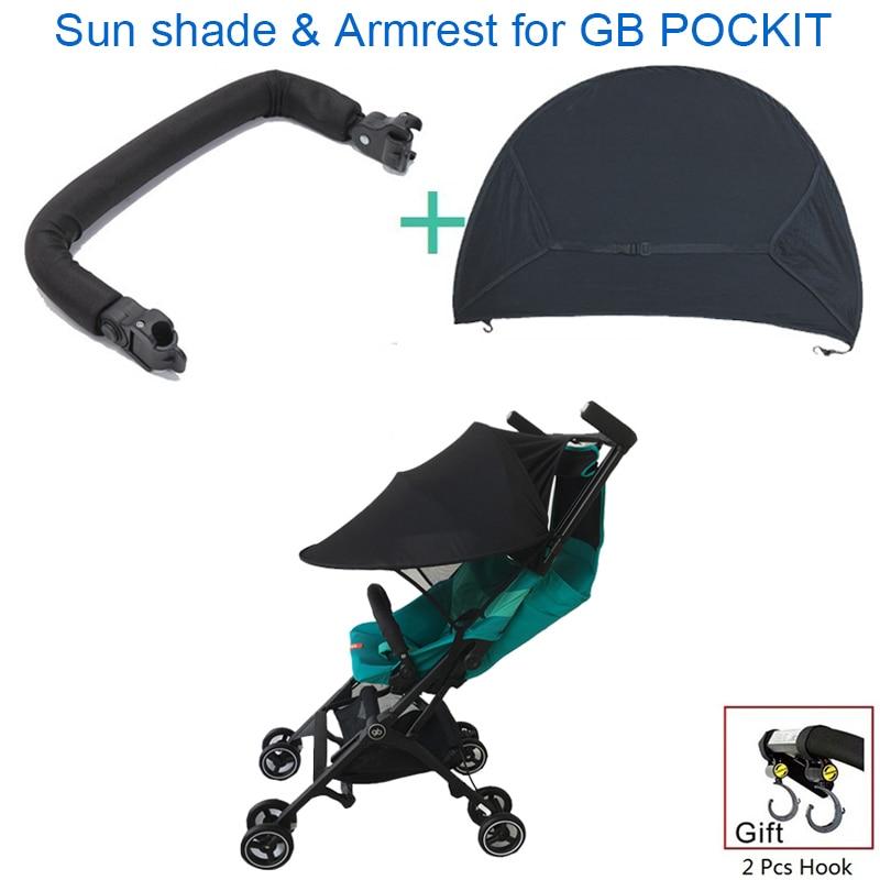1:1 gb pockit mais acessórios carrinho de criança braço corrimão & sun sombra & gancho para goodbaby pockit + carrinho de criança gb qbit