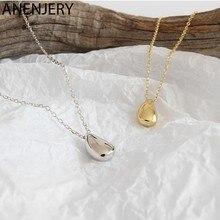 ANENJERY de Plata de Ley 925 kpop temperamento Simple gota de agua colgante de las mujeres collar gargantilla de cadena collares S-N577