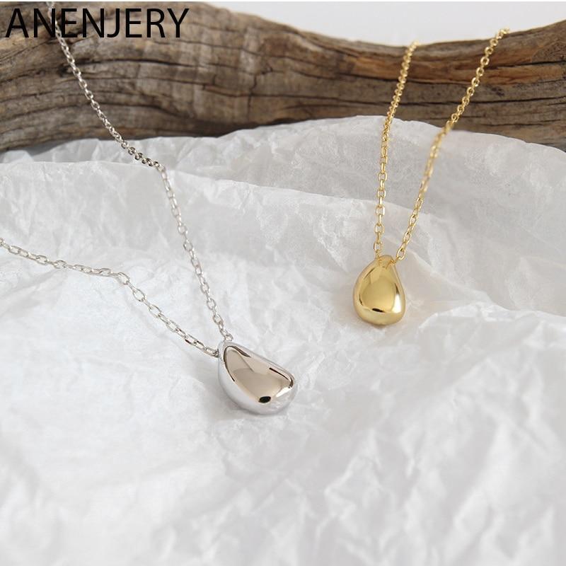 ANENJERY kpop Temperament Simple Water Drop Pendant Women Necklace Chain choker collares S-N577