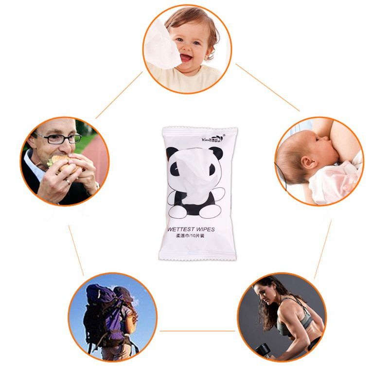 10Pcs/Bag Creative Cute Cartoon Panda Printed Flip-Top Removal Wet Wipes Baby Adult Disposable Cleaning Tissue Towel Individuall