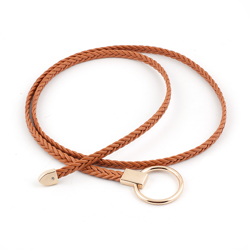 Braided Leather Belt For Women Gold Buckle Waist Belt Lady Thin Self Tie Bow Female Rope Thin Dress Belt Waistband Tie-in Shirt