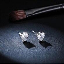 925 Sterling Silver Earrings Heart-Shaped  Zircon Claws Inlaid Love womens Simple Ear Jewelry