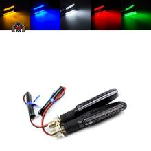 2pcs 1 Pair Flowing LED Motorcycle Turn Signal Indicators Sequential Blinkers Flashers Flexible Bendable Amber Light Lamp