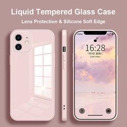 Caso de telefone de vidro temperado líquido para iphone 11 12 pro max caso anti-knock pele do bebê fram capa para iphone x xs max xr 7 8 plus