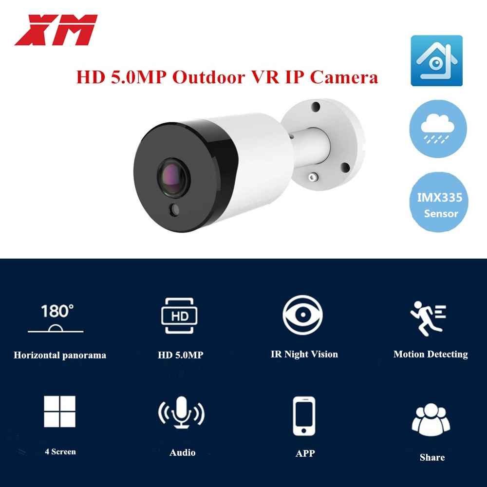 HD 5MP  Panoramic 180 Degree VR POE IP Camera Smart IR Lights Cam Starlight Night Vision Outdoor Security Camera For Sony IMX335