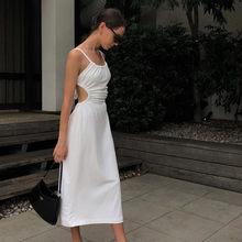 Sexy Dos Nu Évider Robe Midi Femme Blanc Robes Longues Décontracté Spaghetti Sangle Robe Ete 2021 Longue Femme Blanche Vestidos