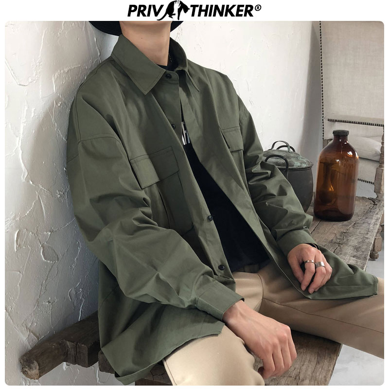 Privathinker Men Vintage Solid Fashion Long Sleeve Shirt 2020 Mens Korean Streetwear Hip Hop Shirts Male Black Designer Shirt