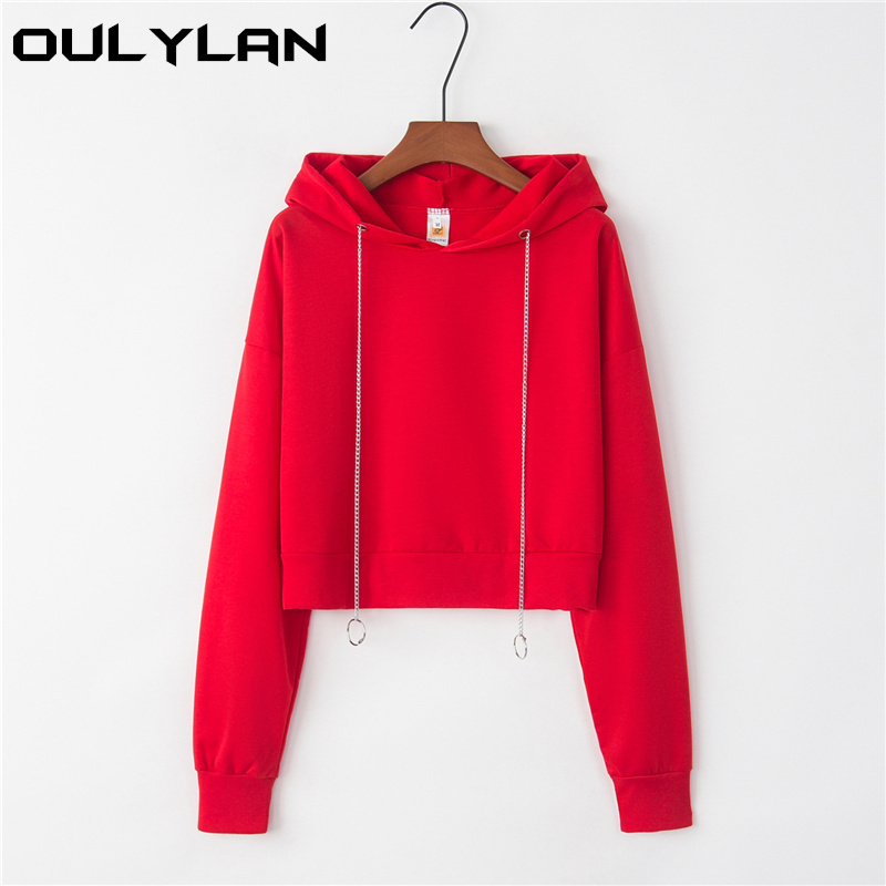 Oulylan Women Hoodies Sweatshirt Female Solid Long Sleeve Casual Pullovers Streetwear Short Tops Clothes Sweatshirts