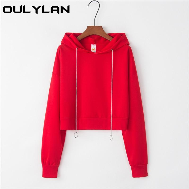Oulylan Women Hoodies Sweatshirt Female Solid Long Sleeve Casual Pullovers Streetwear Short Tops Clothes Sweatshirts