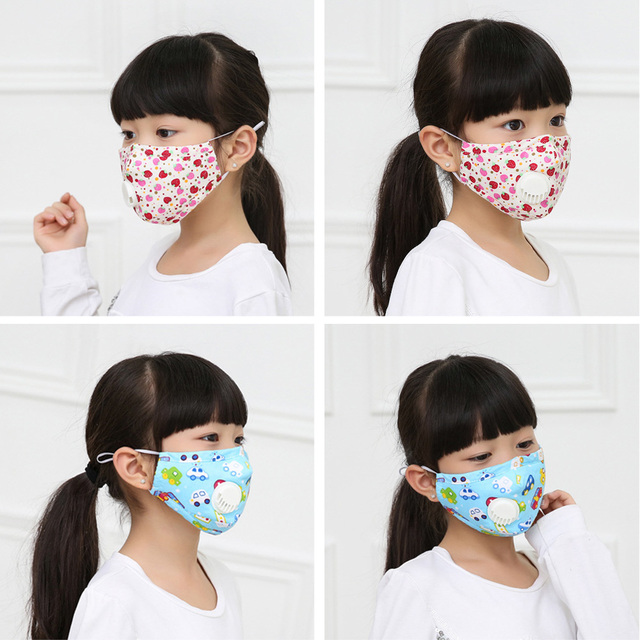 PM2.5 Children Respirator Mask With Breathing Valve Washable Cotton Activated Carbon Filter Mouth Masks Anti Dust Allergy Flu 2