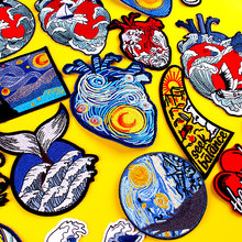 Van Gogh Embroidered Patches For Clothing Kanagawa Heart Patch Iron On Patches On Clothes Punk Patch DIY Stickers For Clothes prajna van gogh patch military biker patch punk applique iron on embroidered patches for clothes stripes stickers on clothes diy