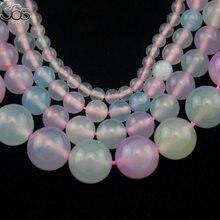 Frete grátis mais novo estilo jóias fazendo espaçador contas 4-12mm morganite round gems pedra costa 15