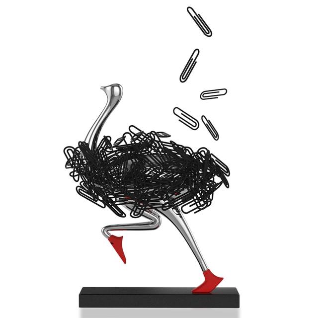 Фото страусиный магнитный держатель для бумаги украшение офисный цена