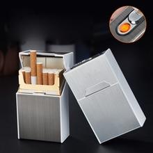 Portable USB Rechargeable Cigarette Case Metal Cigarette Boxes 20PCS Cigarette Holder Case Not Lighter Gadget For Men