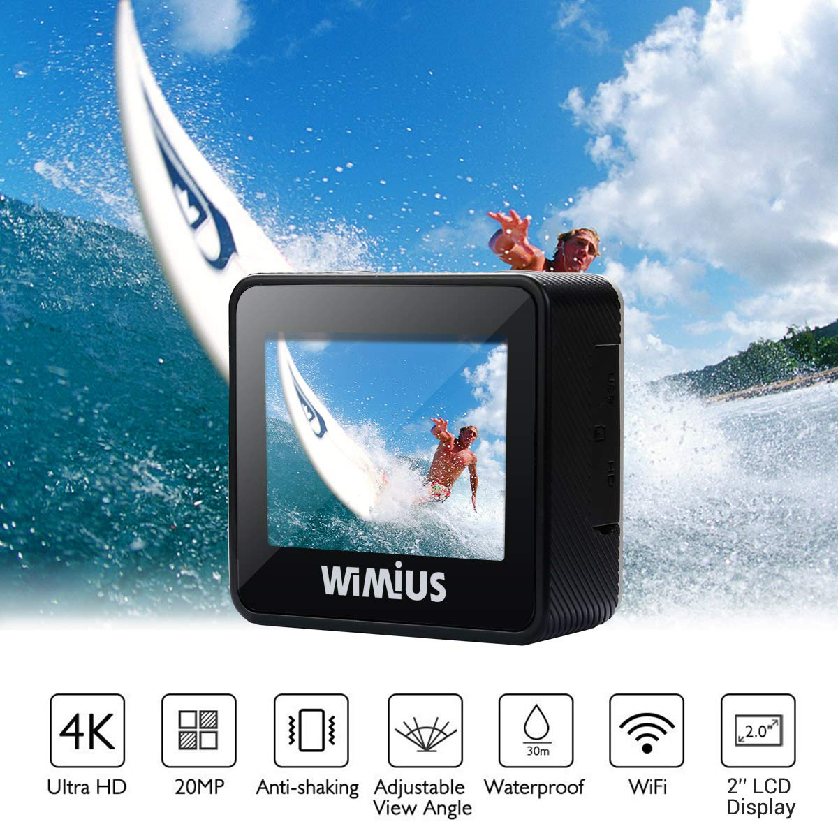 Action camera Wimius L1 ULTRA HD 4K, 20 MP, Features