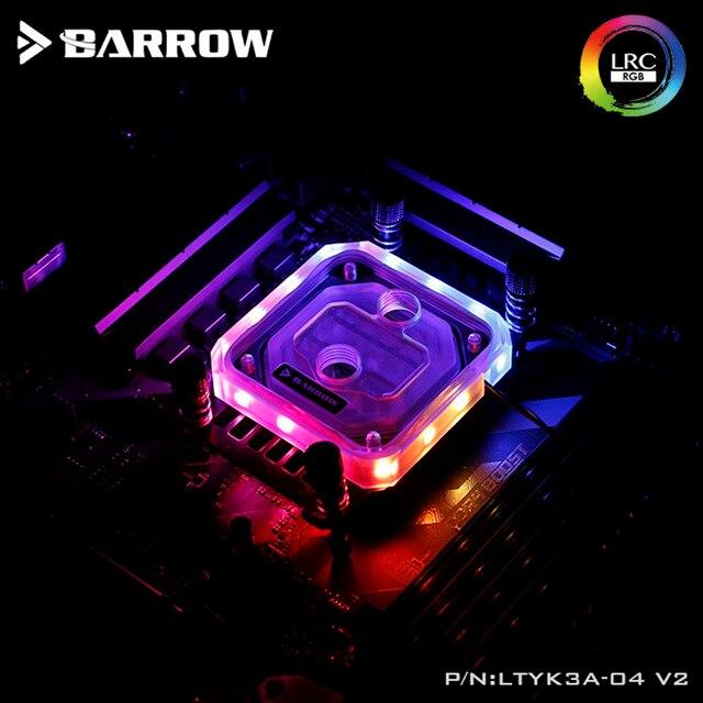 Barrow LTYK3A 04 V2, For RyzenAMD/AM4/AM3 CPU Water Blocks, LRC RGB v2 Acrylic Microcutting Microwaterway Water Cooling Block