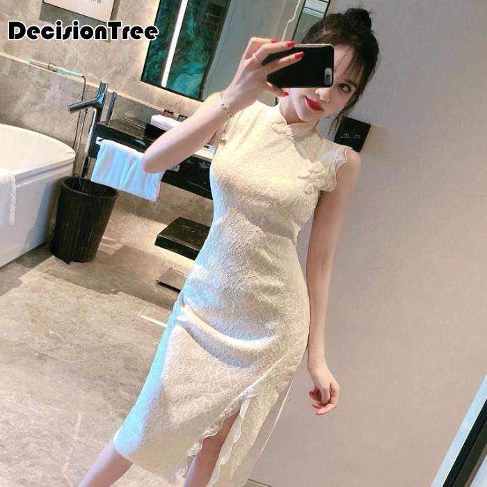 2020 Chinese Dress Women's Cheongsam Elegant Knee Length High Split Lace Qipao Dress Vestido Sexy Evening Party Cheongsam
