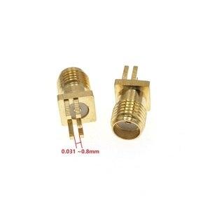 "Image 2 - 100Pcs זהב SMA שקע נקבת PCB הלחמת קליפ קצה הר RF מתאם מחבר 0.062 או 0.048"" 0.031"""
