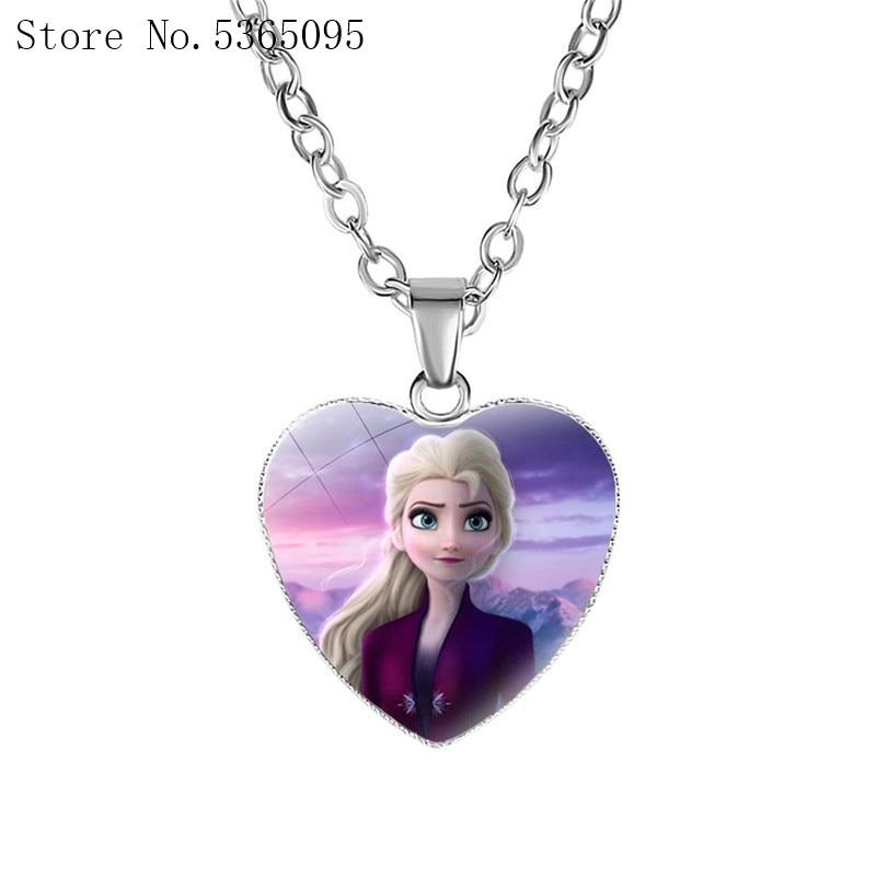 Frozen 2 Love Necklace Children's Cartoon Elsa Princess Anna Heart Shaped Pendant Girl Necklace Disney Accessories Baby Gifts