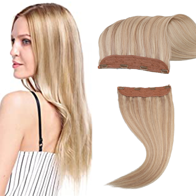 Toysww 70g-85g Invisible Real Human Hair Extension Fish Line Hair Remy Indian Halo Hair Extensions Piano color 18P613