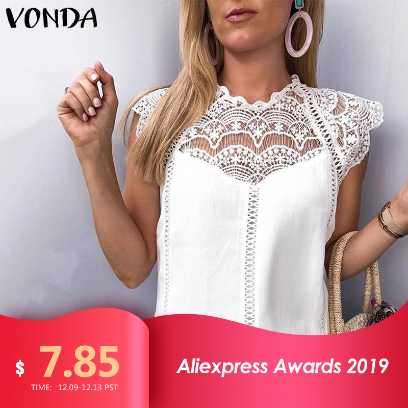 VONDA Women Shits Blouse Woman 2019 Sleeveless Tops Lace Shirt OL Office Ladies Shirts Hollow Party Blusa White Blouse Plus Size
