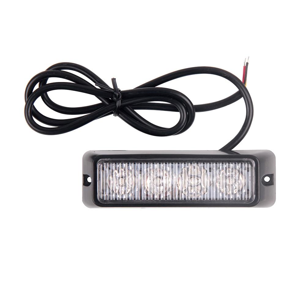 Bogrand 4 Led Strobe Warning Light Strobe Grille Flashing 4W Car Trunk Ambulance Signal Emergency Lamp Hazard Side Beacon Lights