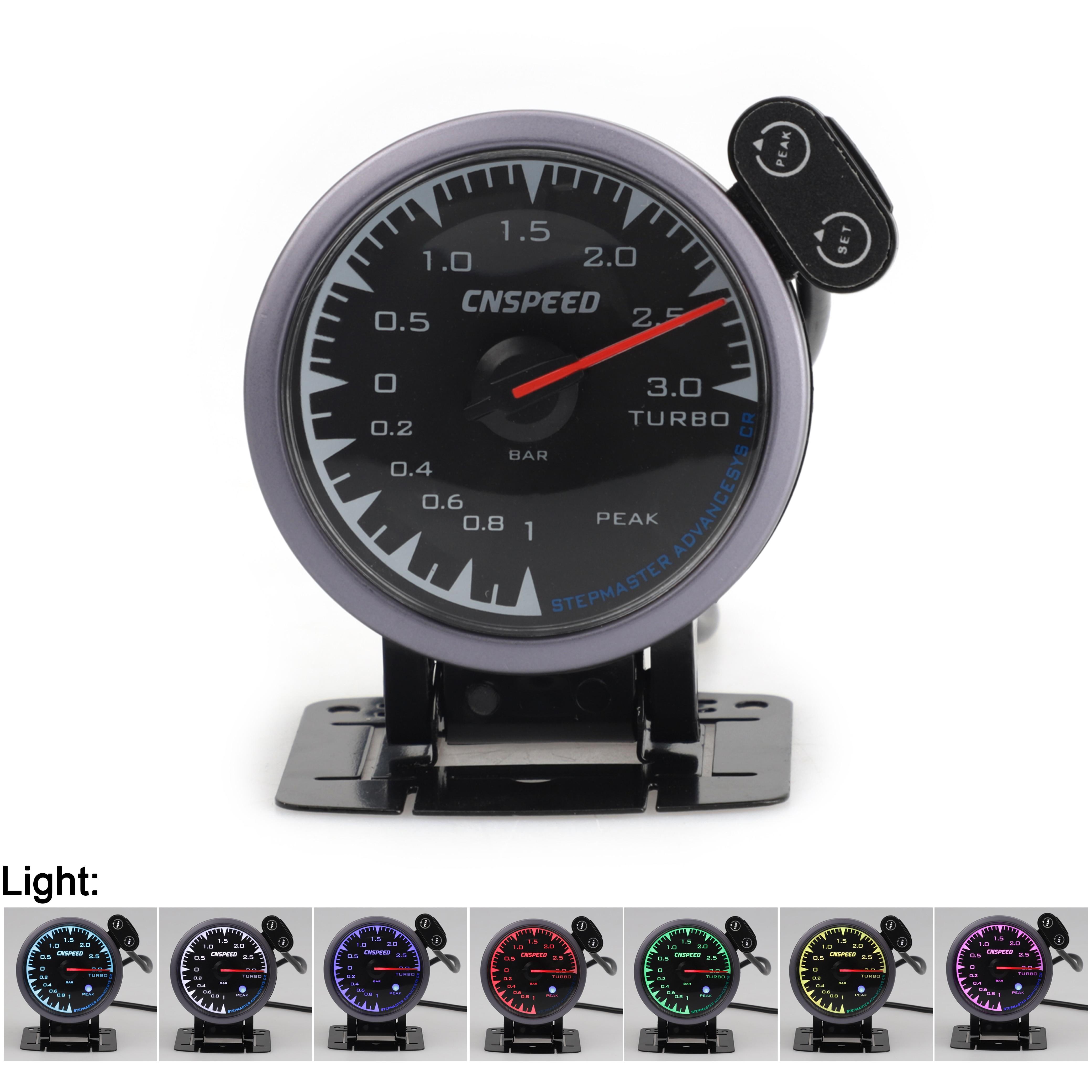 CNSPEED 0 ~ 3Bar uniwersalny wyścigi samochodowe Turbo Boost miernik do 12V Honda CRX CR-Z miernik samochodu z czujnik POD 7 kolory LED