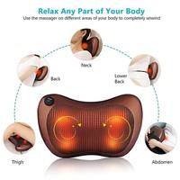 4 Heads / 1 Key Electric Infrared Heating Kneading Neck Shoulder Back Body Spa Massage Pillow, Car Chair Shiatsu Massager