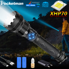 NEWEST XHP70 LED Flashlight 50W Powerful Bright USB Charging 2*26650 Multifunctional Zoom Light Power Bank Camping