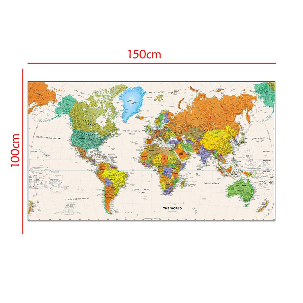 150x100cm Non-woven Waterproof World Map Aerial View Without Flag For Beginner