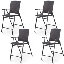 4 Pcs Rattan Steel Wicker Folding Chairs Outdoor Garden Fold Up Chairs Patio Furniture HW52885 cheap Solid 26 0 quot x 22 4 quot x 42 3 quot (L x W x H) Minimalist Modern Other China