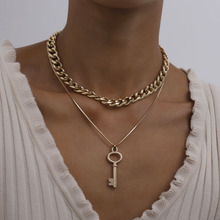 Gold Key Chain Necklace for Women Cuban Chain Layered Necklace Long Gold Filled Jewelry Gift collar cadena mujer Chain Choker gorgeous layered geometric body chain for women