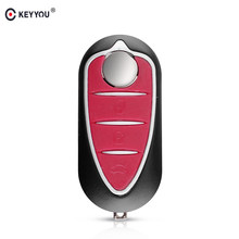 KEYYOU 3 botones de carcasa de llave a distancia de coche caso apto para Alfa Romeo Mito Giulietta 159 GTA plegable, abatible de reemplazo