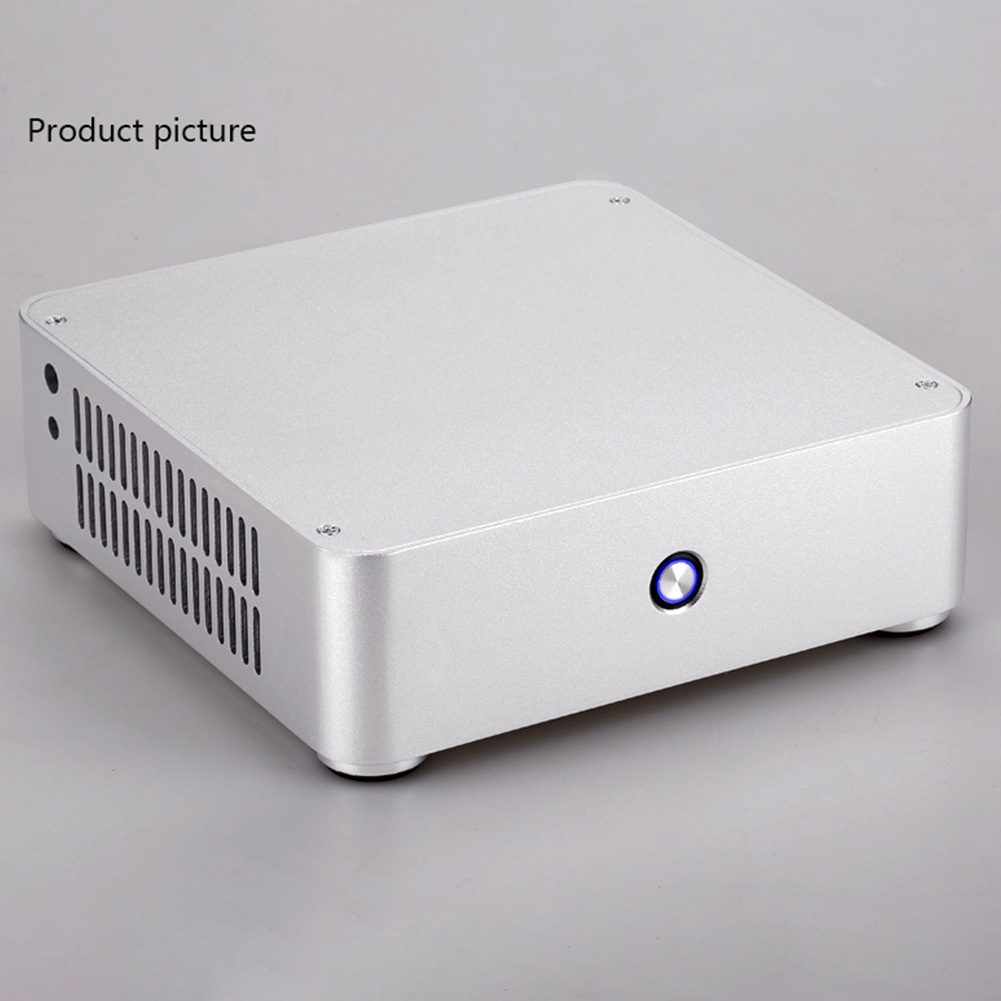 E-H60 HTPC Chassis Slim Office Home Aluminum Alloy Cooling Computer Case Mini ITX Gaming Practical Audio Without Power Supply