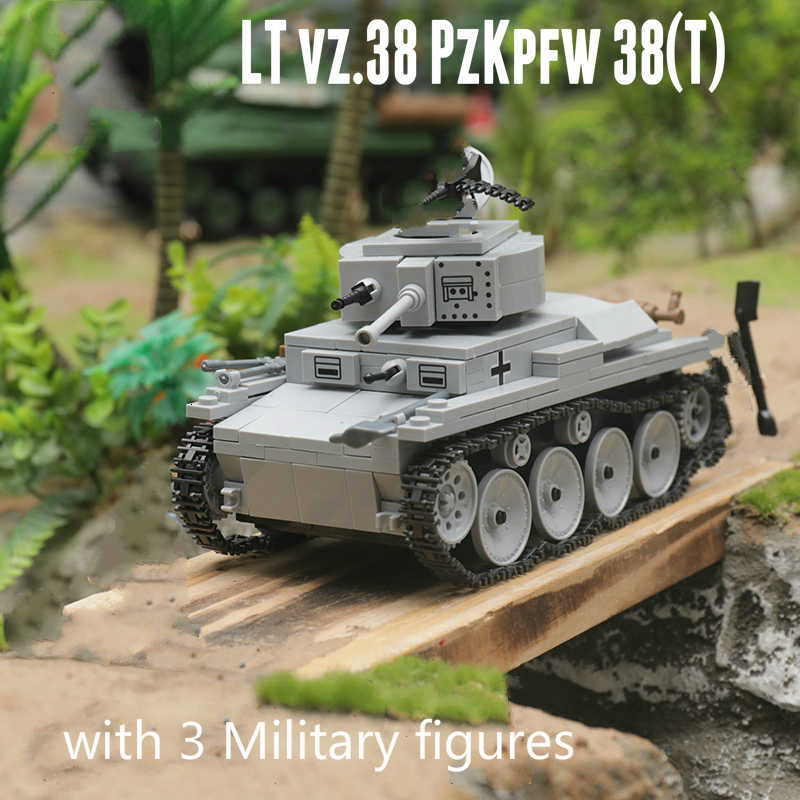 Neue 535 stücke Military WW2 LT-38 Licht Tank Bausteine Modell Technik Stadt Military Soldat Waffe Spielzeug