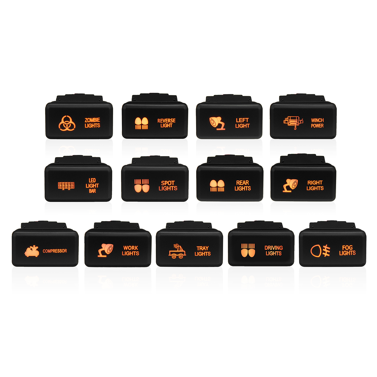 BANDC Car Custom 3 Amp 12V Orange LED Compressor Push Button Switch with Wire