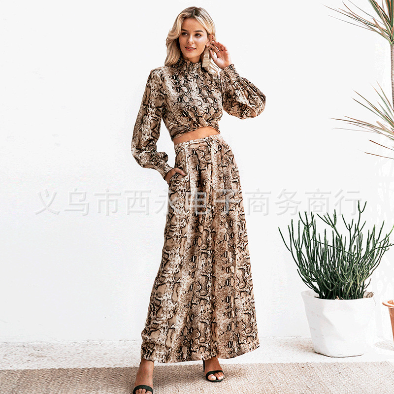 Sen Silk 2019 Spring And Summer New Style Stand Collar Tops Set Europe And America Fashion Trousers Animal Print Set AliExpress