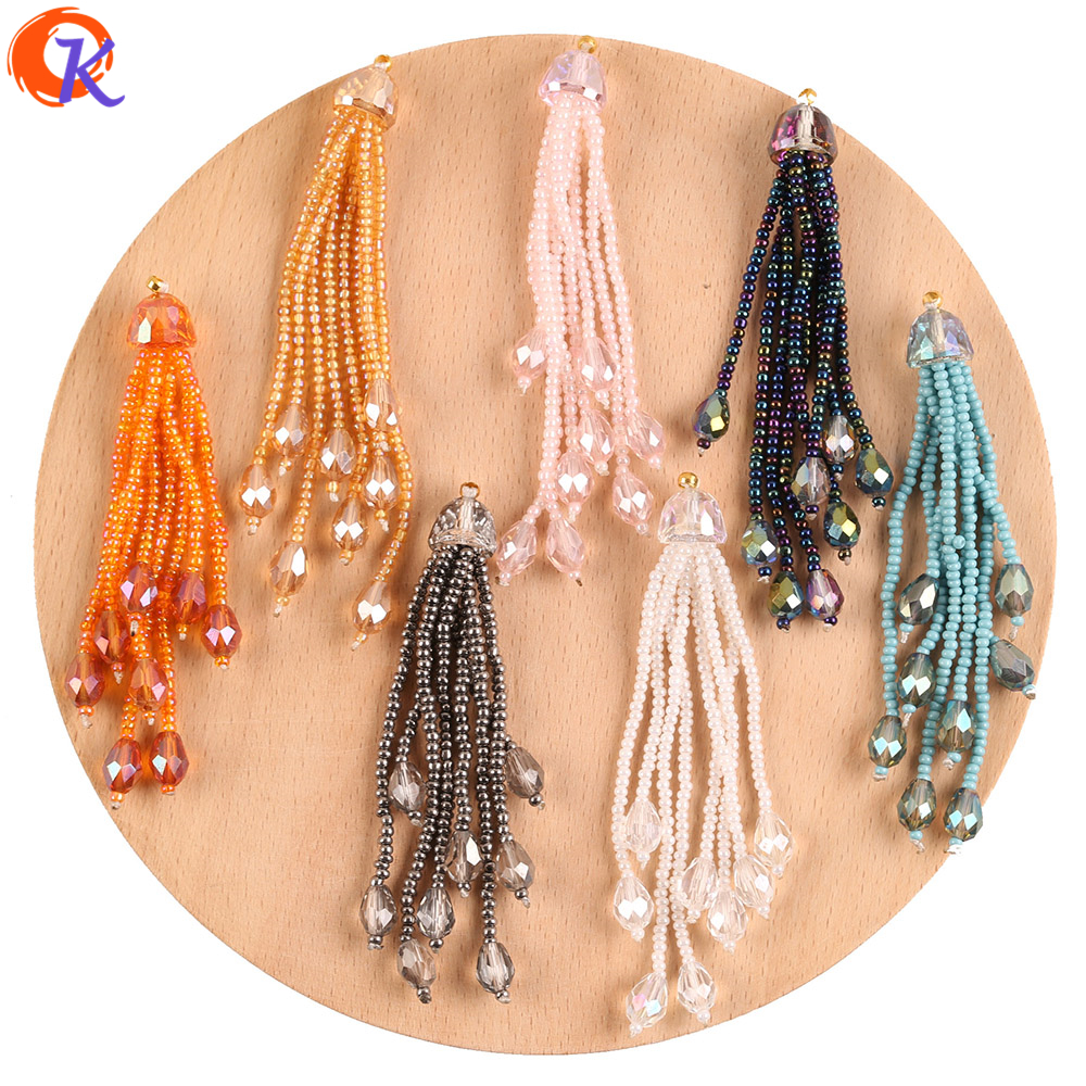 Cordial Design 10Pcs 10*76MM Jewelry Accessories/Crystal Charms/Hand Made/Crystal Seed Beads Tassel/DIY Making/Earring Findings