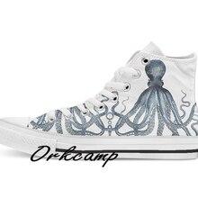 Vintage Octopus Art Print azul Kraken náutica Retro personalizado Casual alta cordones arriba zapatos de lona zapatillas Drop shipping