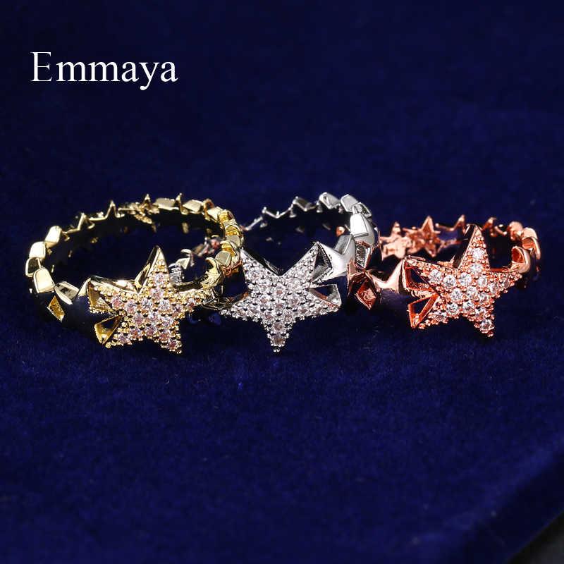Emmaya Ingegnoso Design Rotondo a Cinque Punte Star Zircone Cubico Anello di Charme Tre Colori per Le Donne Fahsion Dress-Up nel Partito