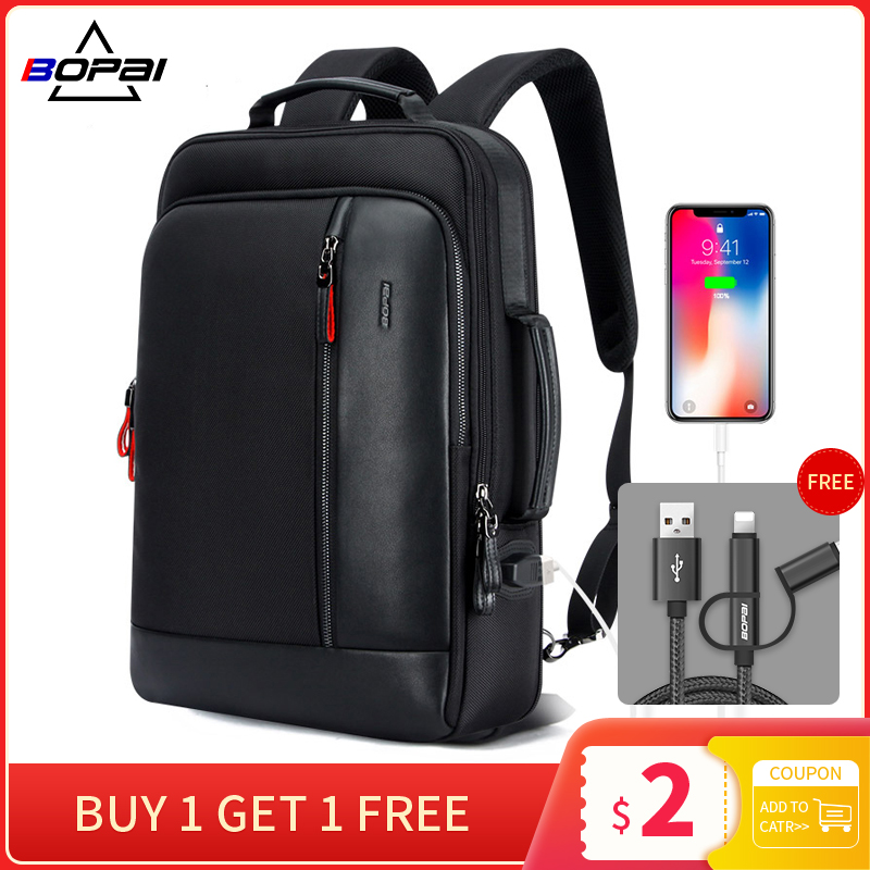 BOPAI Anti Theft Enlarge Backpack USB External Charge 15.6 Inch Laptop Backpack Men Waterproof School Backpack Bags For Teenager
