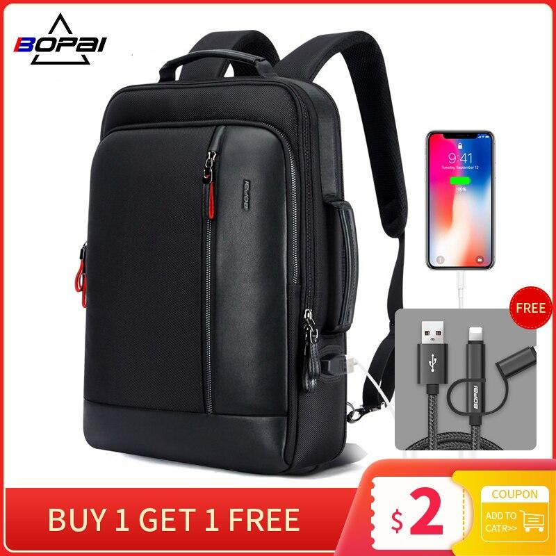 BOPAI Anti vol agrandir sac à dos USB Charge externe 15.6 pouces sac à dos pour ordinateur portable hommes étanche école sac à dos sacs pour adolescent - 1