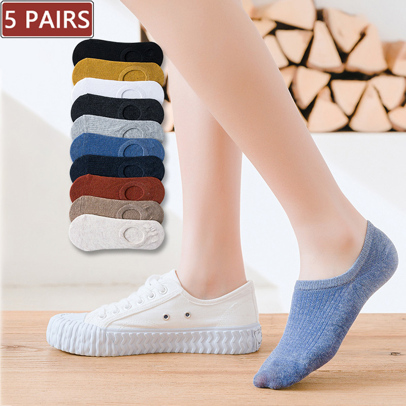 5 пар, женские силиконовые Нескользящие невидимые летние носки, однотонные короткие носки, женские мягкие хлопковые носки, европейские разм...